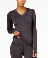 Cuddl Duds Blue Plum Spacedye FlexFit Long Sleeve V-Neck Space Dye Top