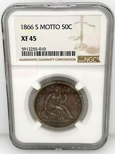 1866 S Motto Seated Liberty Half Dollar (50c) NGC XF-45