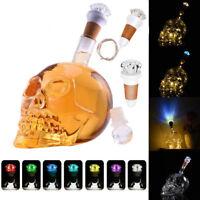 Crystal Skull Head Decanter Liquor Glass Whiskey Bottle Wine Stopper Scotch New