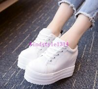 Ladies Trainers Lace Up Canvas Shoes Hidden Wedge Platform Casual Sneakers Size