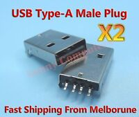 2x USB Type-A Male Plug Standard USB v2.0 Connector Repair Replacement Part #A