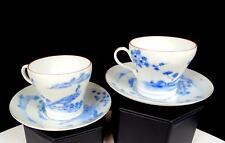 "ANTIQUE JAPANESE PORCELAIN 2 BLUE WHITE BIRD 2 1/8"" DEMITASSE CUP & SAUCER SETS"