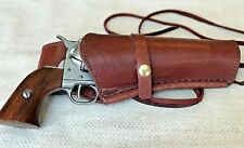 Leather Holster and Belt Hand Tooled Smooth Wine Colored Leather Set  70204