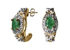 ELEGANTE Orecchini chiusura a farfalla semicerchio con smeraldi diamanti