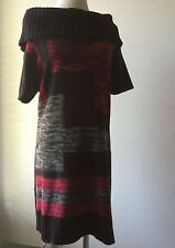 NY Collections Women's Off the Shoulder Sweater Dress Red Black M