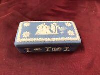 Wedgwood Blue with Raised White Grecian Scene~Lidded Rectangular Trinket Box