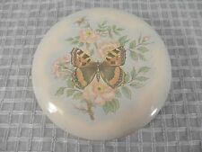 Vtg Daher Decorated Ware Round Metal Tin Flowers/Butterfly Made in England 5""