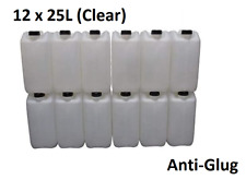 12 x 25 LITRE 25L PLASTIC BOTTLE JERRY WATER CONTAINER CANISTER ANTI GLUG CLEAR
