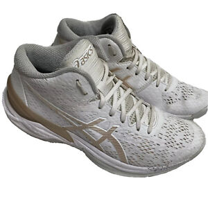 Asics Sky Elite Shoes FF 1052A023 Volleyball Athletic Women Size 8 US White Gold