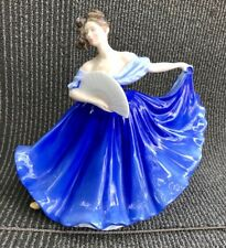 Royal Doulton Figurine Elaine 1979 Porcelain Figurine Hn2791 Blue Dress with Fan