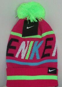 Nike  Beanie Winter Pom Hat  Pink Force -Girls Size 7 - 16    New