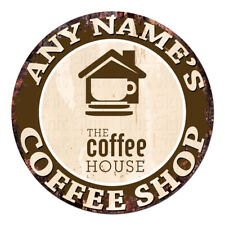 CP-0080 ANY NAME'S COFFEE SHOP Custom Personalized Chic Tin Sign Decor Gift idea