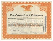 Crown Lock Company Stock Certificate