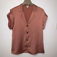River Island Size 12 Pink Satin Short Sleeve Button Up Blouse, Military style
