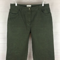 Christopher & Banks womens size 12 solid green 100% cotton soft relaxed jean EUC