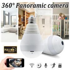 360° Panoramic HD 1080P Wireless Fisheye Security Hidden Camera LED Light Bulb