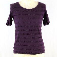 DAXON Women Short Sleeve Smocked Summer Top 10 12 Purple Scoop Neck Cotton Blend