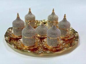 Grand Gifft Handmade Copper Turkish Coffee Espresso Serving Set Swarovski Crysta