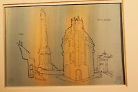 "Gustav Deppe(Essen 1913-1999Witten)""Leuchtturm Borkum""aquarelliert.Litho 22x35cm"