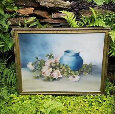 ~ Antique Vintage Shabby Pink Chic Roses Cottage Oil Painting on Canvas~ESTATE~
