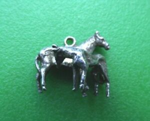 VINTAGE STERLING SILVER CHARM HORSE AND FOAL