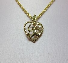 """14KT GOLD EP PERSONALIZED LETTER B HEART INITIAL WITH AN 18"""" ROPE CHAIN"""