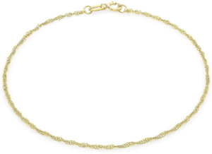 """9ct Yellow Gold 20 Twist Curb Chain Bracelet 23cm/9"""" Thin Womens Anklet Gift"""