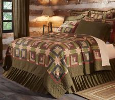 TEA CABIN Oversized King Quilt Primitive Log Cabin Green Rustic Tan Stars