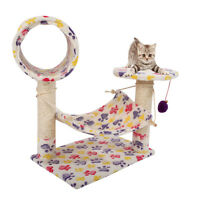 "23"" Cat Tree Pet Furniture Condo House Scratch Post Bed Tower Hammock Perch"