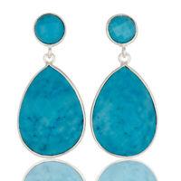 Blue Turquoise Gemstone 925 Sterling Silver Wedding Drop/Dangle Earrings