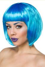 14434 Parrucca Capelli Cosplay a Caschetto Lisci Blu Azzurri con Frangia Dritta