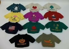 11 Small Doll Dog Teddy Bear Knit Sweaters Months Seasons - Excellent