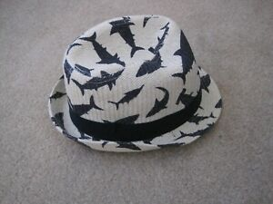 Boys bowler straw summer hat shark detail suit twins as two available size 8 yea