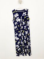 Bonmarche Ladies Maxi Dress Sleeveless Size 20 Blue Floral Plus Size Holiday