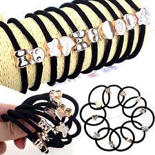 Lot/10pcs Black Elastic Hair Ties Band Ropes Ring Ponytail Holder Accessories