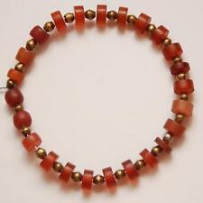 ANTIQUE AFRICAN Brass Bicone Beads + Carnelian Glass Beads