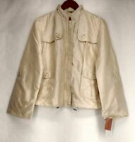 Judy Crowell Sz XS Zip Front w/ Button Detail Sand Beige Jacket Womens A18695