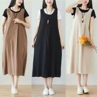 Retro Women Cotton Suspender Skirt Casual Overalls Strapless Summer Long Dress