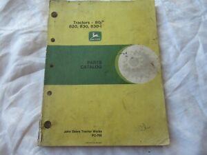 John Deere model 80 820 830  parts catalog manual book