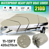 210D 11-13FT Heavy Duty Boat Cover Fishing Ski Bass V-Hull Runabouts Waterproof