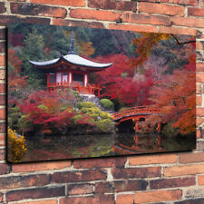 """Japanese Pagoda Water Garden Autumn Printed Canvas Picture A1.30""""x20"""" 30mm Deep"""