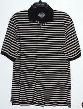 Men's medium black w/stripes short sleeve polo shirt (Consensus)