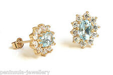 9ct Gold Blue Topaz Cluster Stud earrings Made in UK Gift Boxed Studs