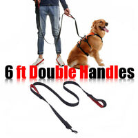 6FT Strong Dog Leash Double Handles Lead Training Padded Handle Reflective Nylon