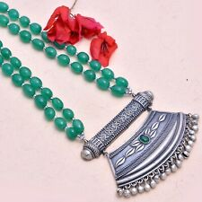 Indian Silver Antique Necklace Green Gemstones Beads Bollywood Style Jewellery