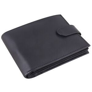 RFID Soft Real Leather Wallet With Zip Pocket Coin Pouch 2 ID Window #335 Black