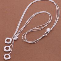 Kette silber Boho Kette lang Multikette Halskette Damen Valentins Geschenk NEU