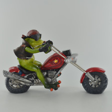 More details for comical red biker frog small resin figurine (80330)