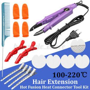 Salon Hair Extension Sewing Fusions Iron Bonding Tool Heat Gun Connector Kit CN