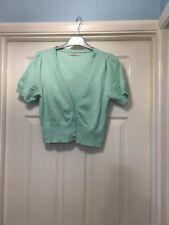 Mint Green Cotton Short Sleeve Summer Cardigan Size 10